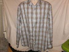 NWOT Tommy Bahama Island Modern Fit Blue Brown Plaid Cotton Shirt XL