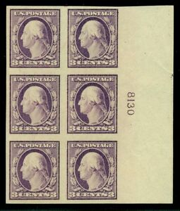 US #483 3¢ violet, type I, Plate No. Block of 6, og, LH, VF, Scott $125.00