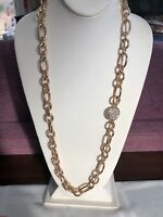 Vintage Necklace Heavy Gold Link Rhinestone Accent Pendant Long Sweater Style