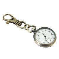 Bronze White Dial Arabic Numerals Key Ring Keychain Pocket Quartz Watc OIS