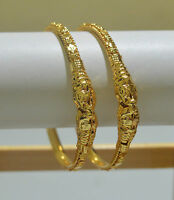 Indian Gold Looking Gold Plated Thin Design Bangles Bracelet Churi Set of 2