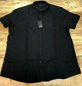Mens Capsule Short Sleeved Black Oxford Shirt With Pocket - 4 Sizes L/XL/2XL/4XL