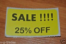 LOT 200 YELLOW SALE 25% OFF  Price Labels Stickers Tags Retail Store 2X1 INCH