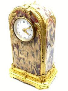 Art Nouveau Gilt Bronze & Enamel Clock by Paul Louchet, Paris c.1900