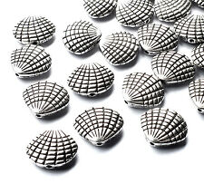 25 x Quality Sea Shell Spacer Bead Charm 13mm Silver Plated Beach Nautical Craft