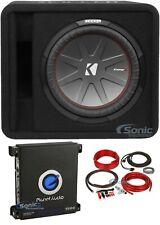 "Kicker 12"" Single Car Subwoofer Loaded Vented Enclosure+Mono Amplifier+Amp Kit"