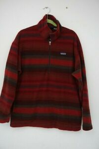 Patagonia Men's Half Zip Fleece Pullover LG Vintage 1990s Red Stripe Made USA