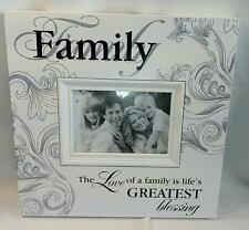 MODERN WOODEN FAMILY PHOTO FRAME WHITE with SWIRLS PATTERN