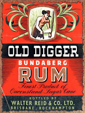 Old Digger Bundaberg Rum, Retro Metal Sign, Pub, Bar, Man Cave
