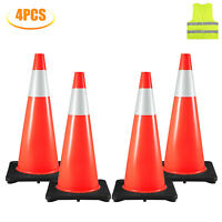 """4 Traffic Cones 28"""" Safety Cones with Black Base PVC Orange Traffic Safety Cone"""