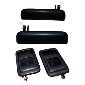 4PCS Black Outside Inside Door Handles Front Left Right For 95-98 Toyota Tercel