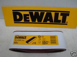 10 X DEWALT DT3302 75mm X 533MM BELT SANDER SANDING BELTS 60GRIT