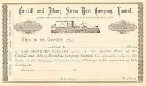 1885 Catskill and Albany Steam Boat > Hudson New York stock certificate share