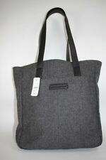 NWT BROOKS BROTHERS Black Gray Herringbone 100% Wool & Leather Trim Tote Bag