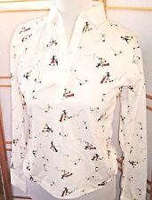 Vintage Knitwear By DiFini Golf Print ladies Long sleeve top/blouse Sz 34