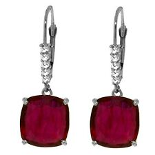 Genuine Diamond Ruby Red Gemstone Dangle Lever Back Earrings 14K Solid Gold