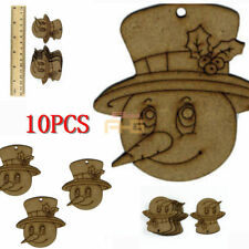 10X Wooden Snowman Shape Baubles Blank Christmas Craft Tree Decoration 3 mm mdf