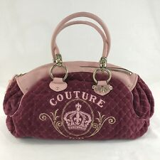 Juicy Couture Quilted Purse Maroon Pink Velour Handbag
