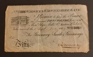 1869 £50.00 Banknote - Warwick & Warwickshire Bank Greenway Smith & Greenway