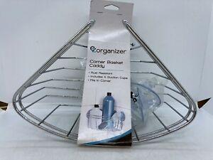 EZ Organizer Corner Shower Basket Caddy Silver Rust Resistant