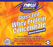 NOW Foods Sports Grass-Fed Whey Protein Concentrate 1.2 lbs NATURAL UNFLAVORED
