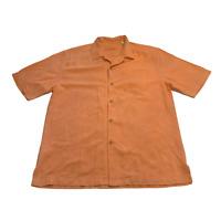 Tommy Bahama Button Up Shirt Large Orange Casual Hawaiian  Men's 2242