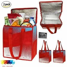 2 Piece Insulated Grocery Bag Large Thermal Shopping Tote Reusable for Picnic
