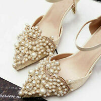 2pcs Pearl Flower Shoe Clip & Rhinestones Iron on Pearl Patch Badge Applique Hi