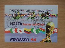 Malta 1998 World Cup Football France 98 Miniature Sheet Used
