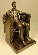 President Abraham Lincoln Seated Sculpture Statue Book End Antique Bronze Finish