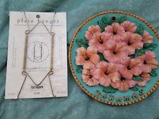 "10"" colorful hibiscus flower decorative ceramic plate Bahamas w plate hanger"