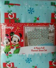 Mickey & Minnie Mouse Flannel FULL Sheet Set ~ NEW 4 Pc Blue