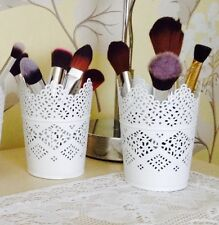 SET OF TWO Make Up Brush Holder Pots White/Candle Holders FREE POSTAGE & PACKIN