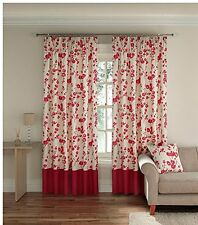 """NEW Montgomery lined Pencil Pleat Curtains 46""""Width 72""""Drop Wasabi Coral RRP£44"""