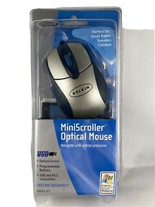 New BELKIN MiniScroller Optical Mouse Model F8E882-OPT - USB and PS/2