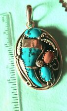 Silver, turquoise and coral 'bear claw' Navajo pendant, beautiful.