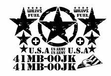 Jeep Decal   WRANGLER Military Army Willys Hood Decal Rubicon Sahara JK J8 TJ YJ