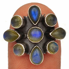 Labradorite - Madagascar 925 Sterling Silver Ring Jewelry s.8.5 BR46019