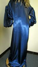 """Plus Size Satin! """"Special Cut� Navy Satin Balloon Shirt Style Gown -Flr Length"""