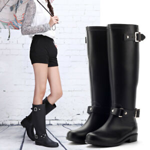 Womens Low Heels Buckle Strap Knee High Riding Boots Outdoor Rain Shoes Slip On