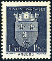 FRANCE - 1942 - Yv.558/Mi.569 1fr50+1fr80 bleu foncé Blason d'Angers - Neuf*