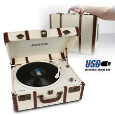 USB Vinyl Turntable Record Player Speakers MP3 Convert Vintage Cream Suitcase
