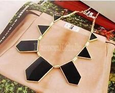 Nuevo Black & Gold Tone geométricas Celebrity declaración Para Mujer Babero Regalo Collar