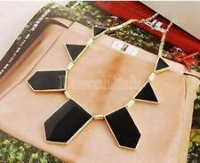 New Black & Gold Tone Geometric Celebrity Statement Womens Bib Necklace Gift