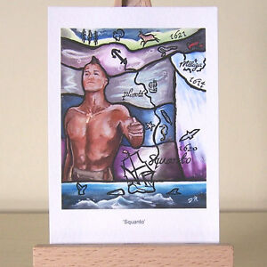 Squanto portrait stylized ACEO Art Card pictures significant dates