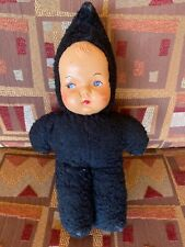 Vintage 1940s Carnival Prize Cloth Stuffed Doll Plastic Mask Composite Face