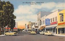 1940's Stores Early Cars Magnolia St. looking South Ocala FL postcard Woolworths