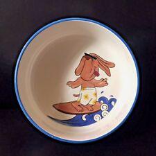 "TableTops Gallery  Dog Bowl ""Surfing Dog"" Ceramic 7 X 3 in"