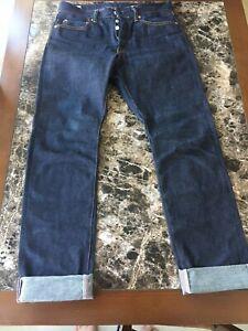 Sz 33 Momotaro 12 oz Selvege Raw Denim Men's Jeans (Natural Tapered Fit) 0605-12