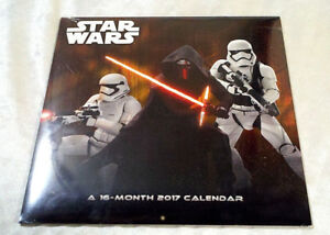 NEW 2017 STAR WARS CALENDAR 16-MONTH MOVIE COLLECTIBLE FILM STORMTROOPERS R2D2